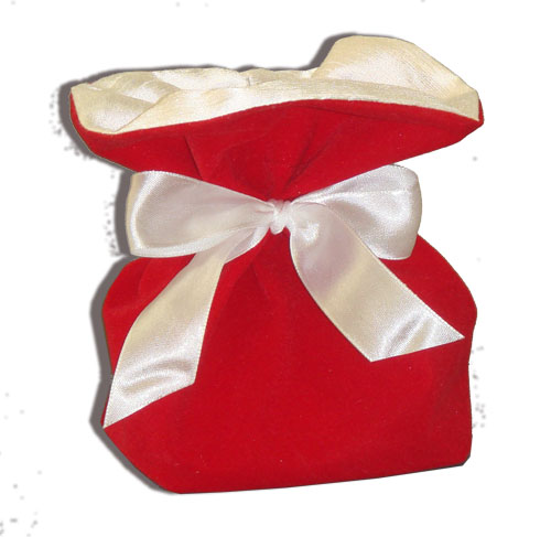Подарочный мешочек с контрастной подкладкой, широкая лента.