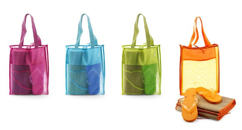 Пляжный набор: сумка, тапочки, коврик.